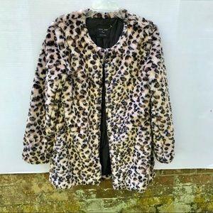 Love Tree Faux Fur Leopard Jacket Size Large